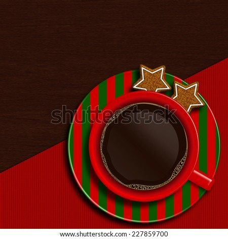 christmas cup of coffee with cookies lying on wooden table with place for text - stock photo