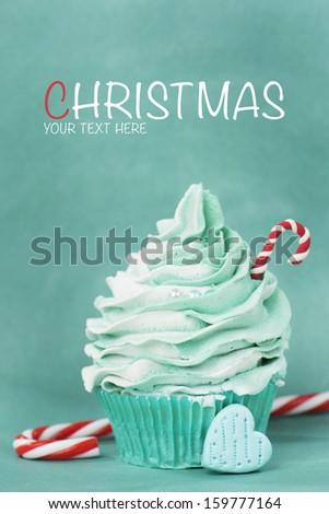Christmas cupcake card design with your text - stock photo