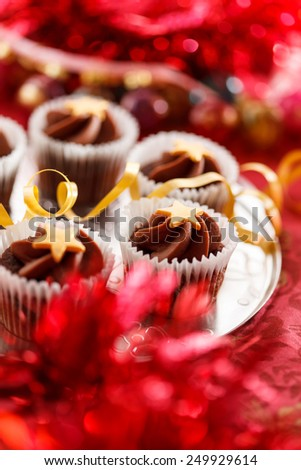 Christmas cupcakes - stock photo