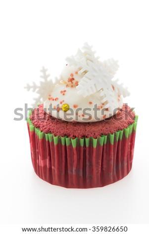 Christmas cupcakes isolated on white background - stock photo