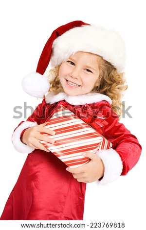 Christmas: Cute Girl Holds Wrapped Christmas Gifts