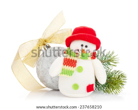 Christmas decor and snowman toy. Isolated on white background