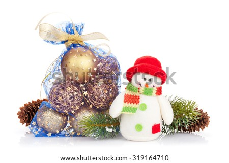 Christmas decor and snowman toy. Isolated on white background - stock photo