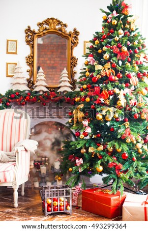 Christmas decor, Christmas Background, fireplace, Christmas tree