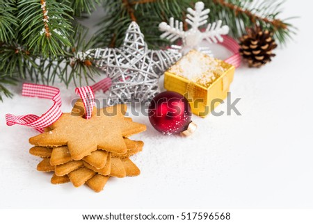Christmas decor on white background