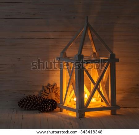 Christmas decor on wooden table - stock photo