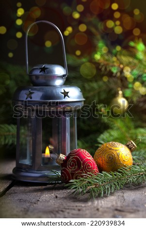 Christmas Decor with boke at the wooden table  - stock photo