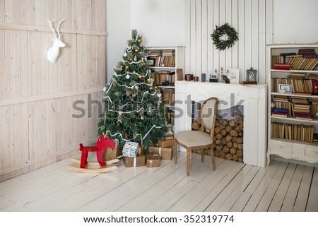 Christmas decorated room, photo studio interior  - stock photo