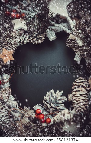 Christmas decoration and top view composition. Fir tree, Pine cones, and Spruce