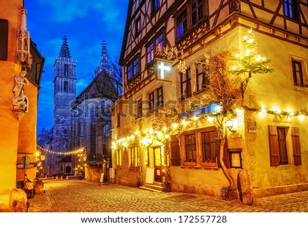 Christmas decoration at night in Rothenburg ob der Tauber, Germany