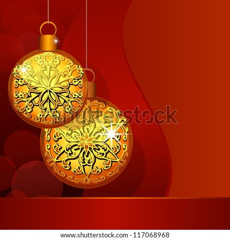 Christmas decoration background with gold baubles. Vector version available in my portfolio