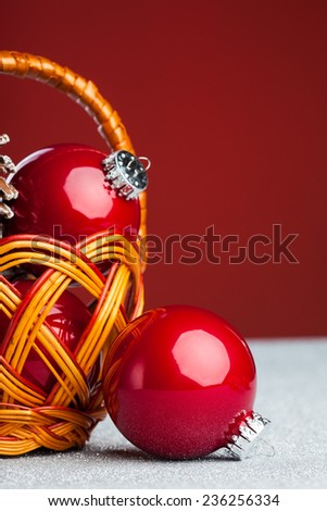 Christmas decoration ball in busket - stock photo