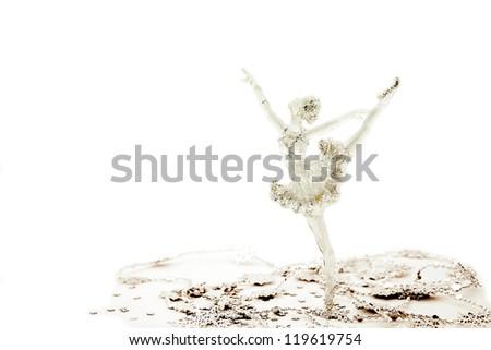 Christmas decoration ballerina toy isolated on white background - stock photo