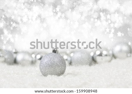 Christmas Decoration Balls in Snowfall - stock photo