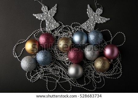 Christmas decoration balls on a dark background