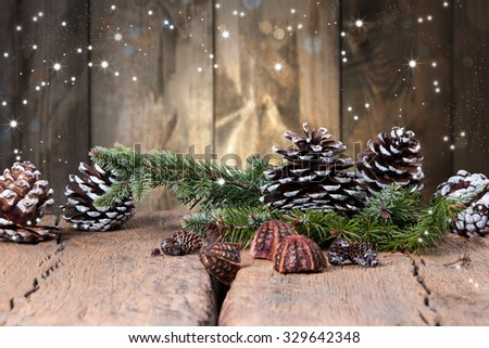 Christmas decoration, balls  on dark wooden background  - stock photo