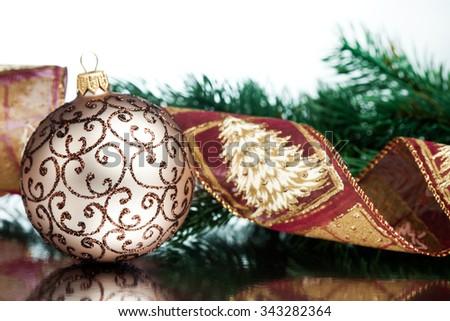 Christmas decoration balls with fir-tree - stock photo