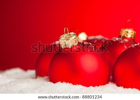 Christmas decoration balls with snow - stock photo