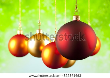 Christmas decoration - baubles on green background