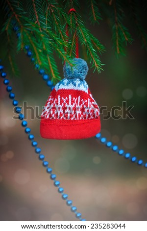 Christmas decoration bead and hat on the fir branch  - stock photo