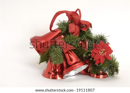Christmas decoration bells isolated against a white background