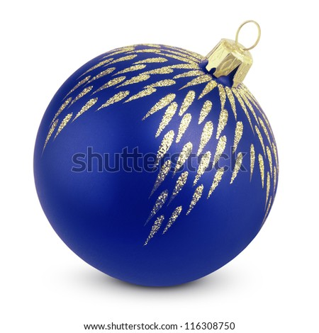 Christmas decoration - blue ball isolated on white with clipping path - stock photo