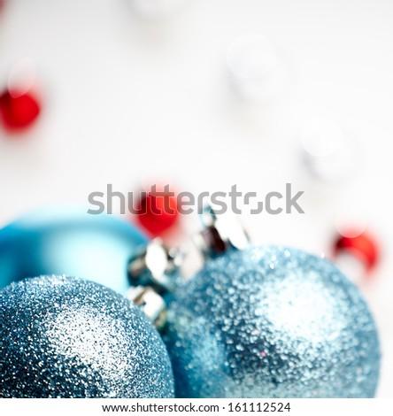 Christmas decoration, blue ball on white background  - stock photo