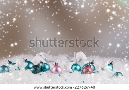 christmas decoration, Blue balls on abstract light background, snow and snowlake  - stock photo