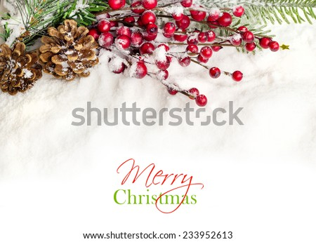 Christmas Decoration Border design  on snow
