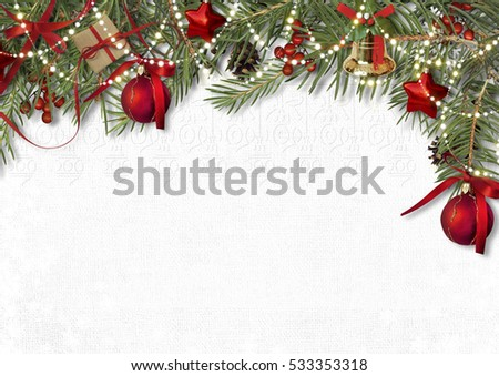 Christmas decoration border with firtree,bell and ball on white