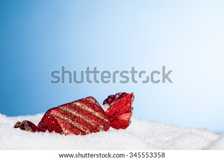 Christmas decoration candy with snow - stock photo