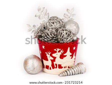 Christmas decoration -ceramic pot with white dry flowers - stock photo