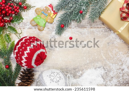 Christmas Decoration. Christmas background with Christmas decorations on rustic wood background. Copy space for your text. - stock photo