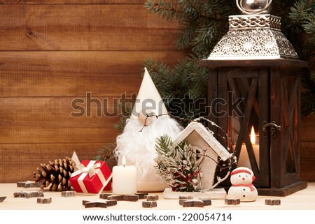 Christmas decoration. Christmas decor on the wooden background.