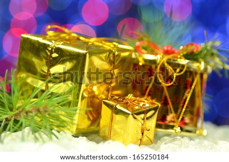 christmas decoration, Christmas presents against bokeh background