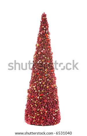 Christmas Decoration Tree Made Out Of Red Balls And Sequins