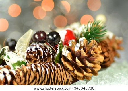 christmas decoration, Christmas wreath made of cones