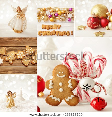 christmas decoration collage - stock photo