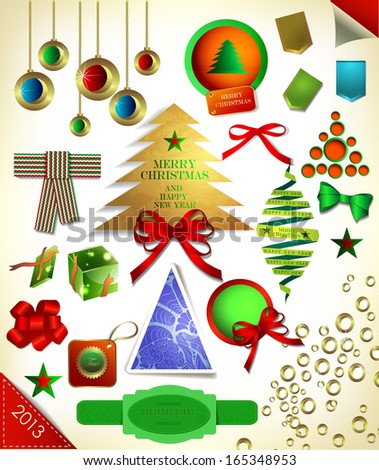 Christmas decoration collection/Christmas tree, calligraphic and typographic design elements, frames, labels. ribbons, stickers