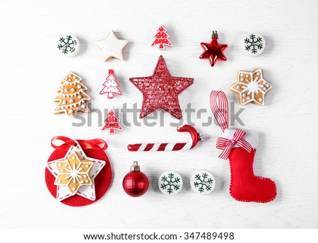 Christmas decoration collection on wooden table top view - stock photo