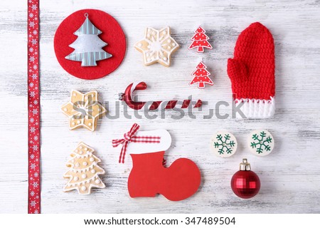 Christmas decoration collection on wooden table top view