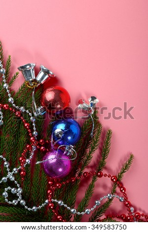 Christmas Decoration: colorful Christmas ball and ornaments with the branch Christmas tree