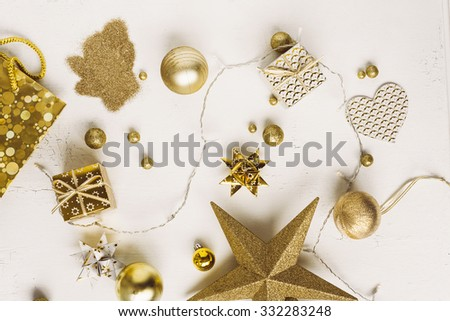 christmas decoration colour themes: Gold - stock photo