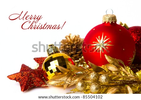 Christmas decoration design isolated on white.With copy space - stock photo