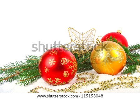 Christmas decoration, fir branch, balls, star and beads, New Year holiday photo