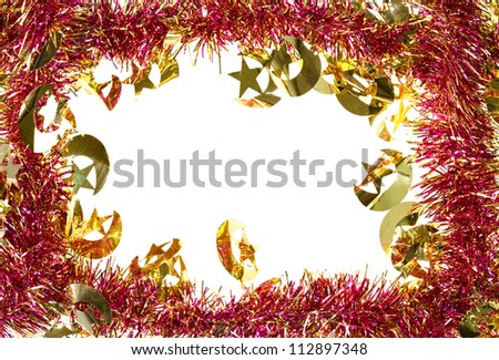 Christmas decoration frame with artificial tinsel - stock photo
