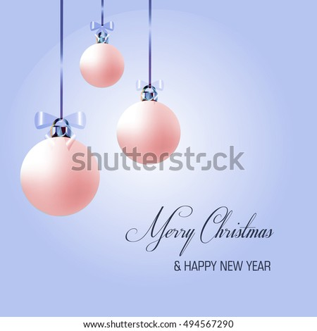 Christmas decoration frame with tree ball. Christmas greeting card.