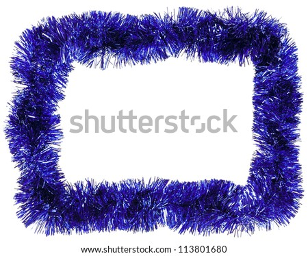 Christmas decoration framework with blue tinsel - stock photo