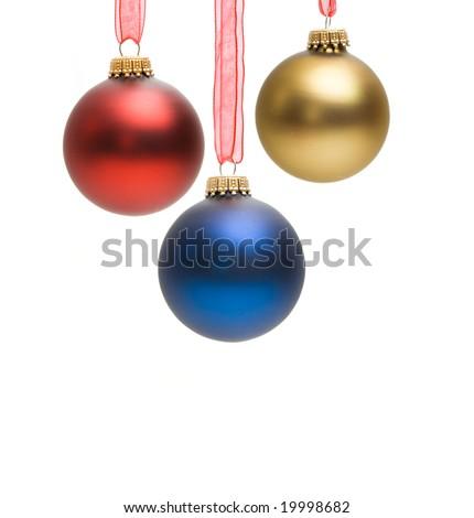 christmas decoration - glass balls isolated on white - stock photo