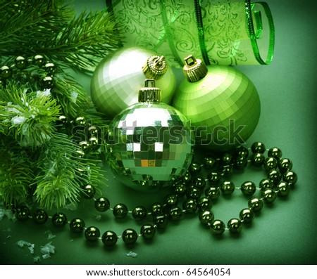 Christmas Decoration.Green - stock photo